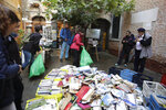 Damaged books are piled outside renowned bookstore