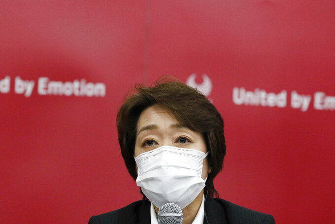 Seiko Hashimoto President of Tokyo 2020 speaks during a four-party meeting in Tokyo, Monday, Aug. 16, 2021. All fans will be barred from the Paralympics during the pandemic, just as they were from the recently-completed Tokyo Olympics, organizers said Monday. (Rodrigo Reyes Marin/Pool Photo via AP)