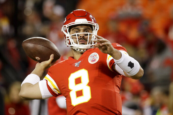 Kansas City Chiefs quarterback Matt Moore (8) warms up before an NFL football game against the Green Bay Packers in Kansas City, Mo., Sunday, Oct. 27, 2019. (AP Photo/Charlie Riedel)