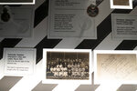 A photograph showing Lily Parr is displayed at an exhibition at the National Football Museum in Manchester, England, Thursday, July 29, 2021. Lily Parr, whose record-setting career was overlooked when the bosses of English soccer shunned the women's game, is now the focus of a new permanent exhibition at the National Football Museum in Manchester. (AP Photo/Jon Super)