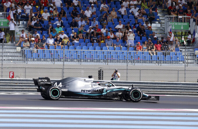 Mercedes driver Lewis Hamilton of Britain steers his car during the French Formula One Grand Prix at the Paul Ricard racetrack in Le Castellet, southern France, Sunday, June 23, 2019. (AP Photo/Claude Paris)