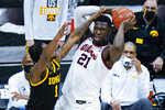 Illinois guard Trent Frazier (1) defends against Illinois center Kofi Cockburn (21) in the first half of an NCAA college basketball game at the Big Ten Conference tournament in Indianapolis, Saturday, March 13, 2021. (AP Photo/Michael Conroy)