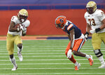 Boston College wide receiver Jehlani Galloway (13) runs upfield against Syracuse during the first half of NCAA college football game, Saturday, Nov. 7, 2020, at the Carrier Dome in Syracuse, N.Y. (Dennis Nett/The Post-Standard via AP)