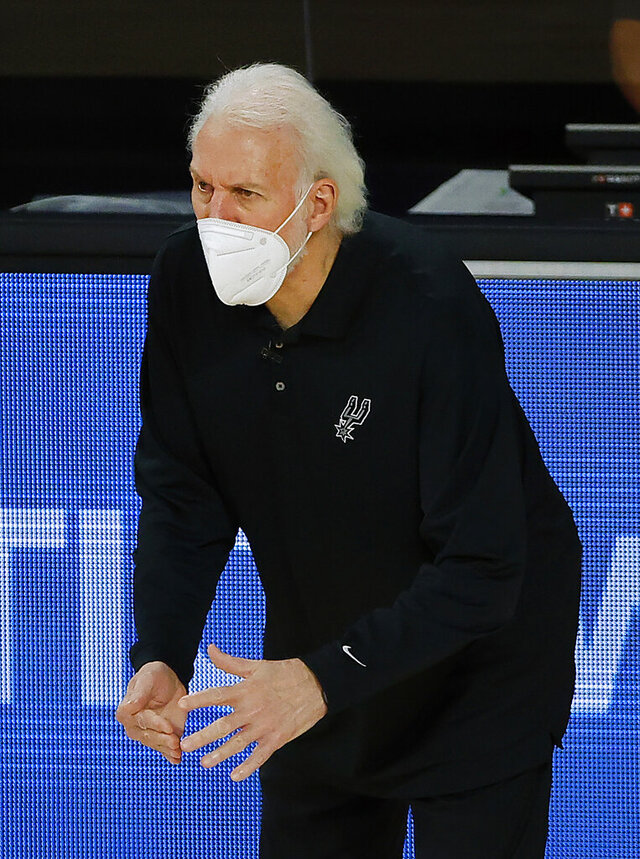 San Antonio Spurs head coach Gregg Popovich calls a timeout during the third quarter of an NBA basketball game against the Utah Jazz, Thursday, Aug. 13, 2020, in Lake Buena Vista, Fla. (Kevin C. Cox/Pool Photo via AP)