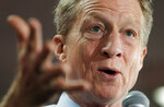 Democratic presidential candidate and businessman Tom Steyer speaks at a Culinary Workers Union hall Thursday, Jan. 16, 2020, in Las Vegas. (AP Photo/John Locher)