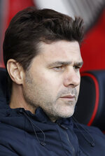 Tottenham manager Mauricio Pochettino sits on the bench at the start of the English Premier League soccer match between AFC Bournemouth and Tottenham Hotspur at the Vitality Stadium in Bournemouth, England, Saturday May 4, 2019. (AP Photo/Matt Dunham)