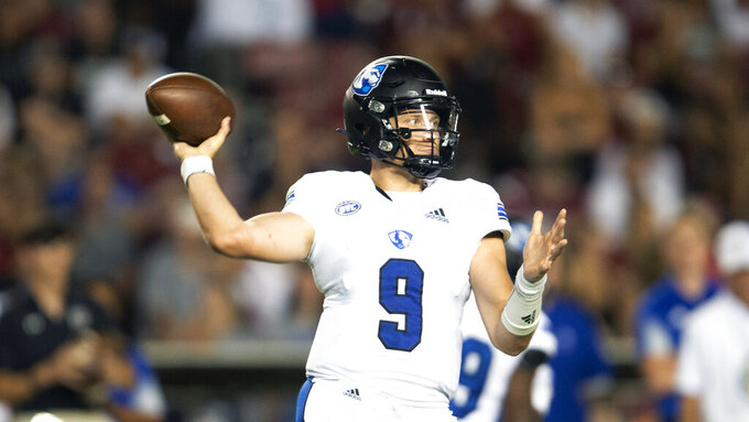 Eastern Illinois quarterback Chris Katrenick (9) attempts pass during the second half of an NCAA college football game against South Carolina, Saturday, Sept. 4, 2021, in Columbia, S.C. (AP Photo/Hakim Wright Sr.)