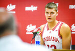 Indiana's Miller Kopp answers questions during the program's NCAA college basketball media day in Bloomington, Ind., Monday, Sept. 27, 2021. (Rich Janzaruk/The Herald-Times via AP)
