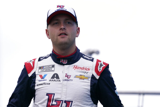 William Byron at a NASCAR Cup Series auto race, Sunday, July 18, 2021, in Loudon, N.H. (AP Photo/Charles Krupa)