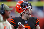 Cleveland Browns quarterback Baker Mayfield (6) looks at the scoreboard during a coaches challenge during the second half of NFL football game against the Denver Broncos, Sunday, Nov. 3, 2019, in Denver. (AP Photo/David Zalubowski)