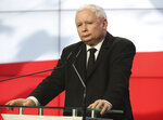 Jaroslaw Kaczynski, the head of Poland's ruling party, speaks at a news conference where the speaker of the parliament resigns in Warsaw, Poland, on Thursday Aug. 8, 2019. Kuchcinski's resignation was prompted by public anger over his and his family's frequent use of government planes. Kuchcinski and Kaczynski insisted that the speaker had broken no law and did nothing wrong.( AP Photo/Czarek Sokolowski)