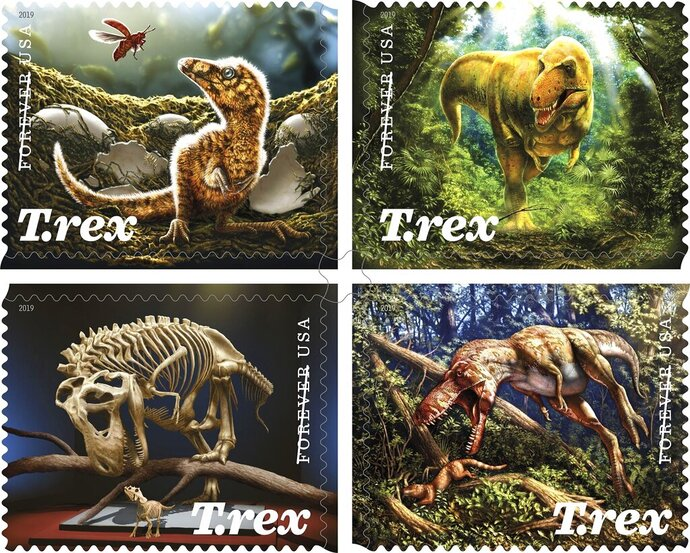 """This photo provided by the U.S. Postal Service shows the Tyrannosaurus Rex Forever Stamps. A federal appeals court in Washington has thrown out a 5-cent hike to the price of a first class """"Forever Stamp"""" along with other adjustments made in January to the price of first-class mail, (U.S. Postal Service via AP)"""