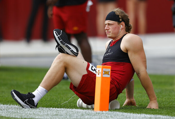 Iowa State linebacker Mike Rose warms up before an NCAA college football game against Northern Iowa, Saturday, Sept. 4, 2021, in Ames, Iowa. (AP Photo/Matthew Putney)