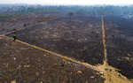 An area consumed by fire and cleared near Novo Progresso in Para state, Brazil, Tuesday, Aug. 18, 2020. While the threat under the administration of President Jair Bolsonaro is the latest and most severe, efforts to preserve the Amazon have been struggling for years. (AP Photo/Andre Penner)