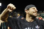 Washington Nationals' Max Scherzer celebrates after Game 4 of the baseball National League Championship Series against the St. Louis Cardinals Tuesday, Oct. 15, 2019, in Washington. The Nationals won 7-4 to win the series 4-0. (AP Photo/Patrick Semansky)