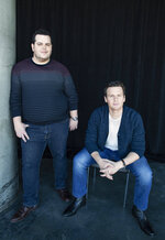 This Nov. 9, 2019 photo shows Jonathan Groff, who voices the character Kristoff, right, and Josh Gad, who voices the character Olaf, at The W Hotel in Los Angeles to promote their film
