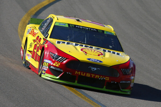 Joey Logano during the NASCAR Cup Series auto race at ISM Raceway, Sunday, Nov. 10, 2019, in Avondale, Ariz. (AP Photo/Ralph Freso)