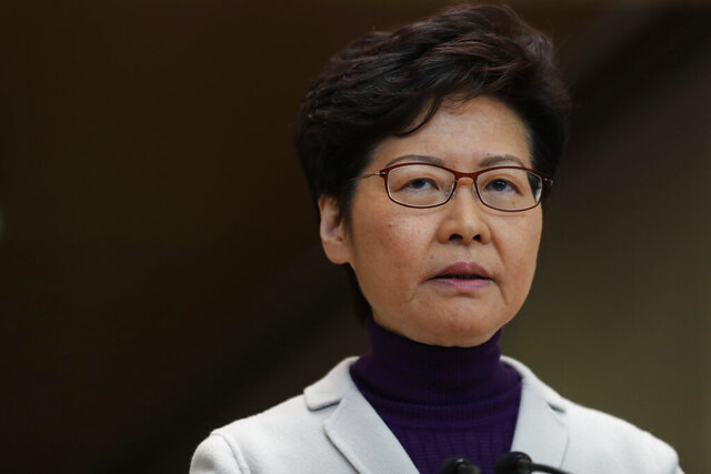 Hong Kong Chief Executive Carrie Lam speaks during a press conference at the Legislative Council in Hong Kong, Tuesday, Dec. 3, 2019. (AP Photo/Vincent Thian)