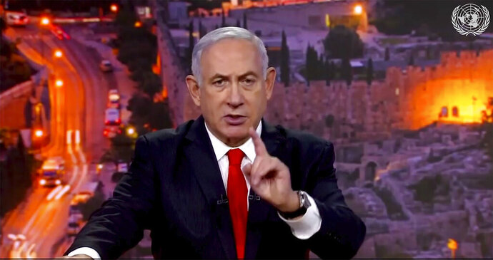 In this image from UNTV video, Prime Minister Benjamin Netanyahu, of Israel, speaks in a pre-recorded message which was played during the 75th session of the United Nations General Assembly, Tuesday, Sept. 29, 2020, at U.N. headquarters. (UNTV via AP)