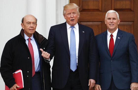 Donald Trump, Mike Pence, Wilbur Ross