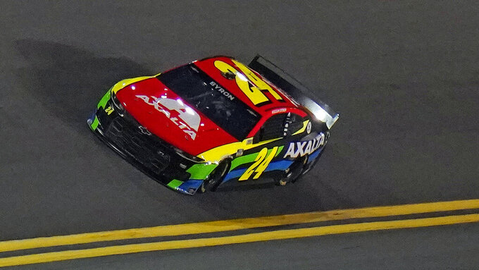 Driver William Byron (24) runs during a NASCAR Daytona 500 qualifying session Wednesday, Feb. 10, 2021, at Daytona International Speedway in Daytona Beach, Fla. Byron will start in the second position for Sunday's race. (AP Photo/Chris O'Meara)