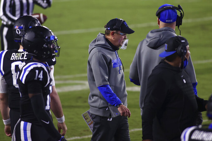 Duke  coach David Cutcliffe stands along the sideline during the first half against Charlotte in an NCAA college football game Saturday, Oct. 31, 2020, in Durham, N.C. (Jaylynn Nash/Pool Photo via AP)