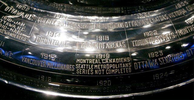 FILE - In this Feb. 4, 2005, file photo, the inscription on the Stanley Cup showing the 1919 series, the only series in the history of the cup not completed, is shown at the Hockey Hall of Fame in Toronto. Anyone who scoffs at drastic measures to deal with the coronavirus outbreak, who wonders if it was really necessary to shut down sports around the world, needs to learn the tragic story of the 1919 Stanley Cup Finals. It's right there on the silver chalice, engraved alongside all the championship teams.