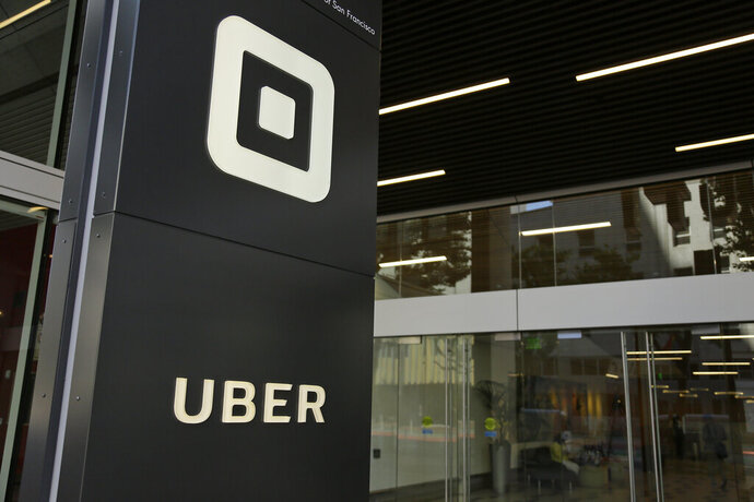 FILE - This Wednesday, June 21, 2017, file photo shows the building that houses the headquarters of Uber, in San Francisco. Uber acknowledged more than 3,000 sexual assaults occurred during U.S. Uber rides in 2018, the company said in a long-awaited safety report. (AP Photo/Eric Risberg, File)