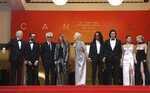 FILE - In this May 14, 2019 file photo, actors Chloe Sevigny, from right, Selena Gomez, Adam Driver, Luka Sabbat, Tilda Swinton, Sara Driver, director Jim Jarmusch, and actor Bill Murray, left, pose for photographers upon arrival at the opening ceremony and the premiere of the film