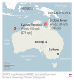 Map locates Cyclones Veronica and Trevor near Australia; 2c x 3 1/2 inches; 96.3 mm x 88 mm;