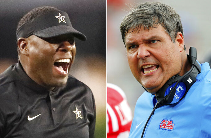 FILE - At left, in an Oct. 6, 2018, file photo, Vanderbilt head coach Derek Mason yells at an official during the first half of an NCAA college football game against Georgia, in Atlanta, Ga. At right, in a Sept. 22, 2018, file photo, Mississippi head coach Matt Luke encourages his players during the second half of the NCAA college football game against Kent State, in Oxford, Miss. Vanderbilt hosts Mississippi on Saturday, Nov. 17. (AP Photo/File)