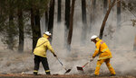 Firefighters uses rakes to battle a fire near Burrill Lake, Sunday, Jan. 5, 2020. Milder temperatures Sunday brought hope of a respite from wildfires that have ravaged three Australian states, destroying almost 2,000 homes. (AP Photo/Rick Rycroft)