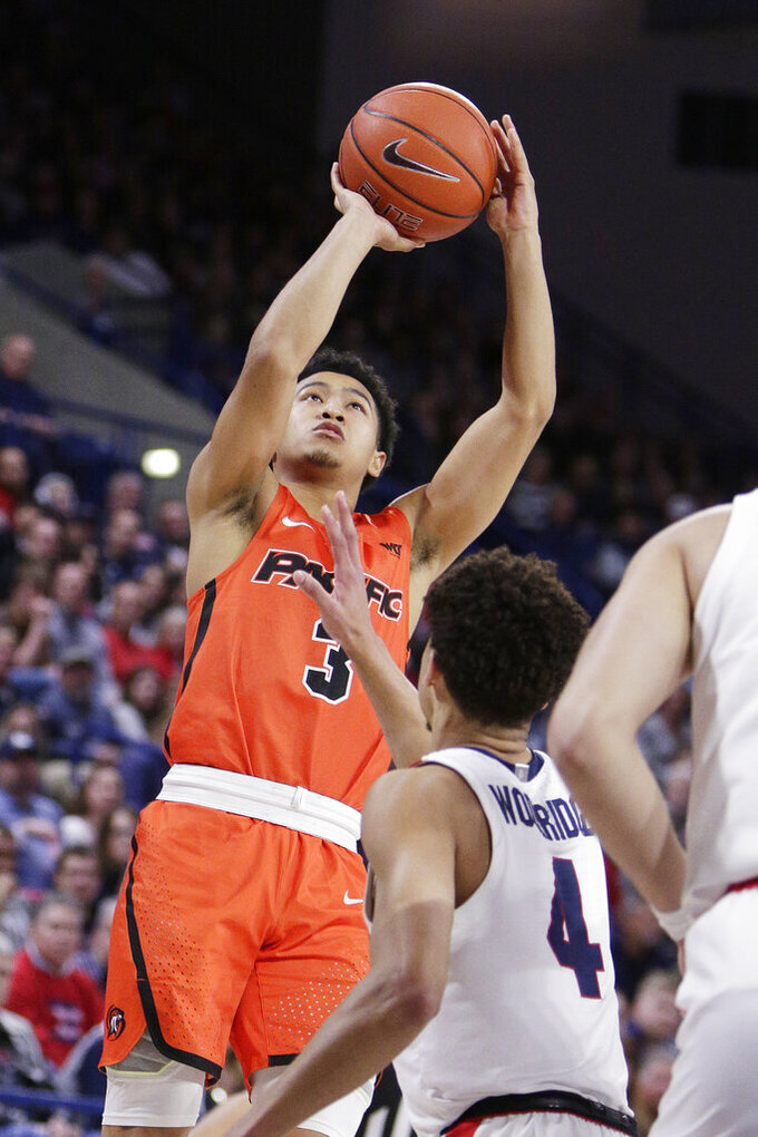 Pacific guard Pierre Crockrell II (3) shoots over Gonzaga guard Ryan Woolridge (4) during the first half of an NCAA college basketball game in Spokane, Wash., Saturday, Jan. 25, 2020. (AP Photo/Young Kwak)
