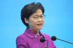 Hong Kong Chief Executive Carrie Lam speaks during a news conference after delivering her policy address in Hong Kong, Wednesday, Nov. 25, 2020. Lam lauded the city's new national security law on Wednesday as