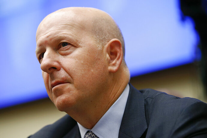 FILE - In this April 10, 2019, file photo, Goldman Sachs chairman and CEO David Solomon testifies before the House Financial Services Commitee during a hearing in Washington. Goldman Sachs said its first quarter earnings fell by 21% from a year earlier, hurt by a slowdown in trading. Solomon described the quarter as a