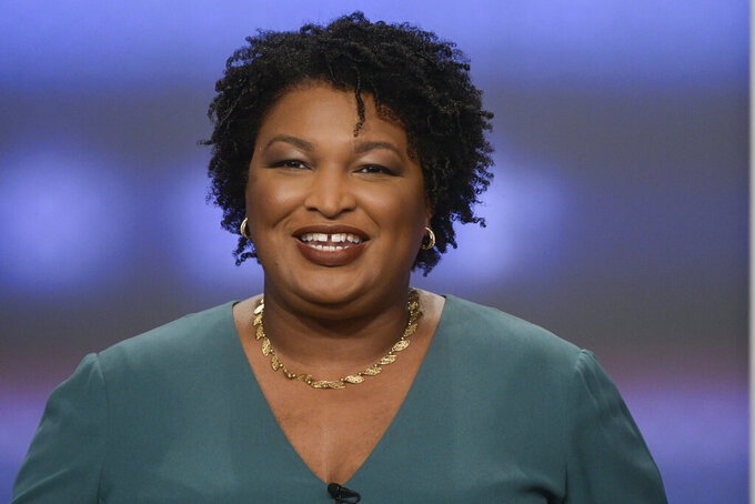 FILE - In this May 20, 2018, file photo, then-Georgia Democratic gubernatorial candidate Stacey Abrams participates in a debate in Atlanta. Abrams is an unusual and historic choice to deliver the opposition response to President Donald Trump's State of the Union, but Democratic leaders are signaling their emphasis on black women and on changing states like Georgia. Abrams will be the first black woman to deliver an opposition response. (AP Photo/John Amis, File)