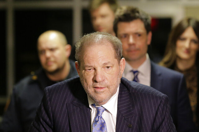 Harvey Weinstein leaves a Manhattan courtroom during his rape trial in New York, Thursday, Feb. 6, 2020. (AP Photo/Seth Wenig)