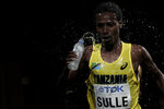 Augustino Paulo Sulle, of Tanzania, competes during the men's marathon at the World Athletics Championships in Doha, Qatar, Sunday, Oct. 6, 2019. (AP Photo/Nariman El-Mofty)