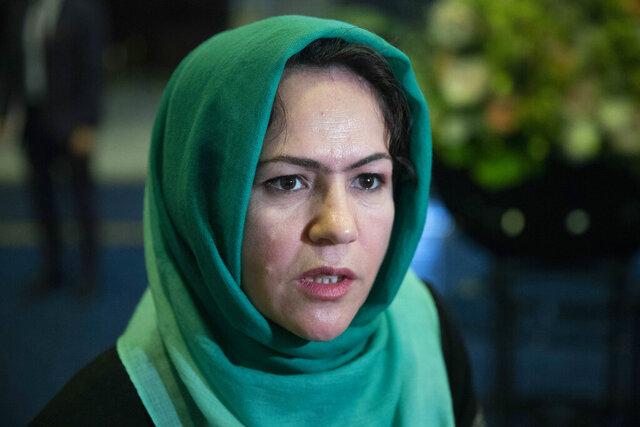 FILE - In this Feb. 5, 2019, file photo, Afghan politician Fawzia Koofi speaks to media before the