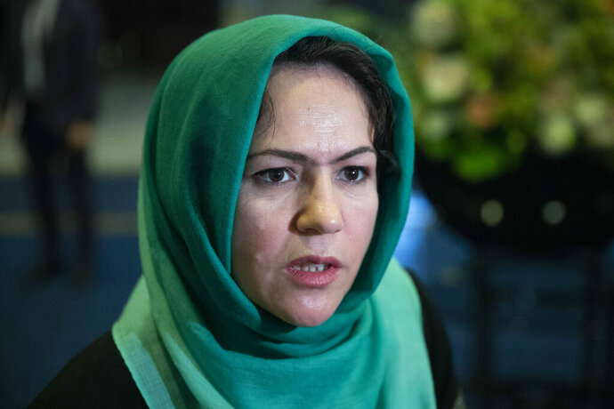 FILE - In this Feb. 5, 2019, file photo, Afghan politician Fawzia Koofi speaks to media before the