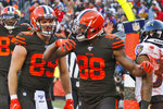 Cleveland Browns tight end Demetrius Harris (88) celebrates a 1-yard touchdown during the first half of an NFL football game against the Baltimore Ravens, Sunday, Dec. 22, 2019, in Cleveland. (AP Photo/Ron Schwane)
