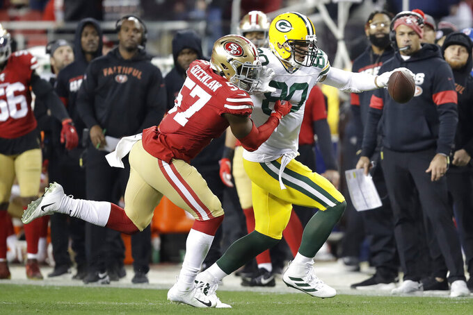 Green Bay Packers tight end Jimmy Graham (80) runs against San Francisco 49ers linebacker Dre Greenlaw (57) during the second half of the NFL NFC Championship football game Sunday, Jan. 19, 2020, in Santa Clara, Calif. (AP Photo/Ben Margot)