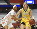 Syracuse's Kadiatou Sissoko, left, defends against South Dakota State's Myah Selling (44) during a second-round game in the NCAA women's college basketball tournament in Syracuse, N.Y., Monday, March 25, 2019. (AP Photo/Heather Ainsworth)