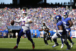 Buffalo Bills quarterback Josh Allen, left, looks to throw during the second half of an NFL football game against the New York Giants, Sunday, Sept. 15, 2019, in East Rutherford, N.J. The Bills defeated the Giants 28-14. (AP Photo/Adam Hunger)