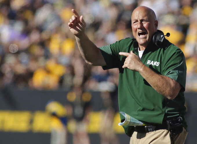 Colorado State head coach Steve Addazio yells on the sideline during the first half of an NCAA college football game against Iowa, Saturday, Sept. 25, 2021, in Iowa City, Iowa. (AP Photo/Ron Johnson)