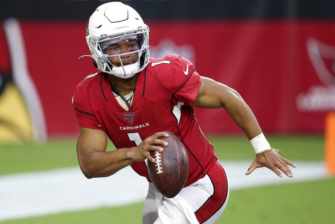 Arizona Cardinals quarterback Kyler Murray (1) looks to through against the Seattle Seahawks during the first half of an NFL football game, Sunday, Sept. 29, 2019, in Glendale, Ariz. (AP Photo/Ross D. Franklin)