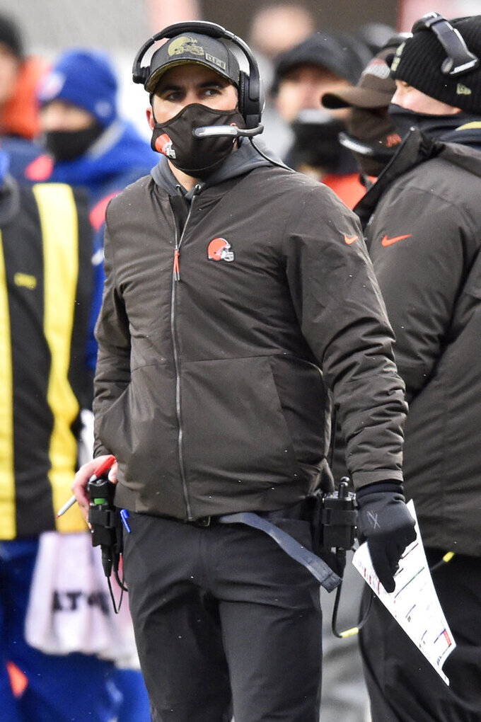 Cleveland Browns head coach Kevin Stefanski watches during the second half of an NFL football game against the Las Vegas Raiders, Sunday, Nov. 1, 2020, in Cleveland. The Raiders won 16-6. (AP Photo/David Richard)