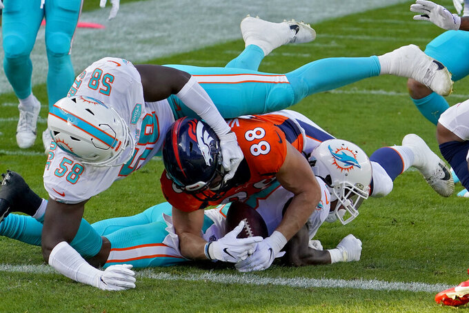 Denver Broncos tight end Nick Vannett (88) is stopped at the 1 yard line by Miami Dolphins defensive end Jason Strowbridge (58) during the first half of an NFL football game, Sunday, Nov. 22, 2020, in Denver. (AP Photo/Jack Dempsey)