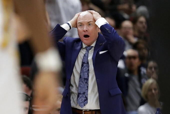 Penn State head coach Patrick Chambers reacts during the second half of an NCAA college basketball game against the Minnesota in the second round of the Big Ten Conference tournament, Thursday, March 14, 2019, in Chicago. (AP Photo/Nam Y. Huh)