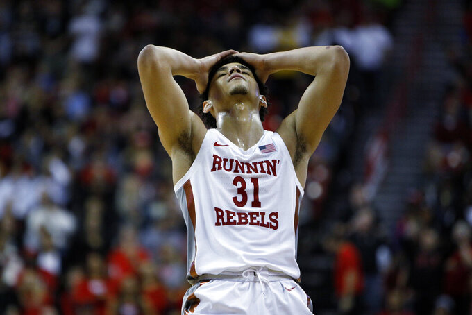 UNLV's Marvin Coleman (31) reacts during the second half of an NCAA college basketball game on Sunday, Jan. 26, 2020, in Las Vegas. (AP Photo/Joe Buglewicz)